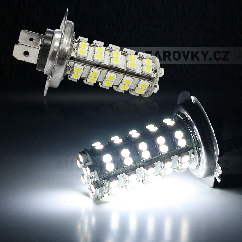 LED žárovka 12V s paticí H7, 68 SMD LED, 1ks