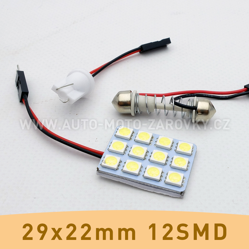 SMD LED panel 29x22mm 12smd s adaptérem pro sufitku 31 - 44mm a T10