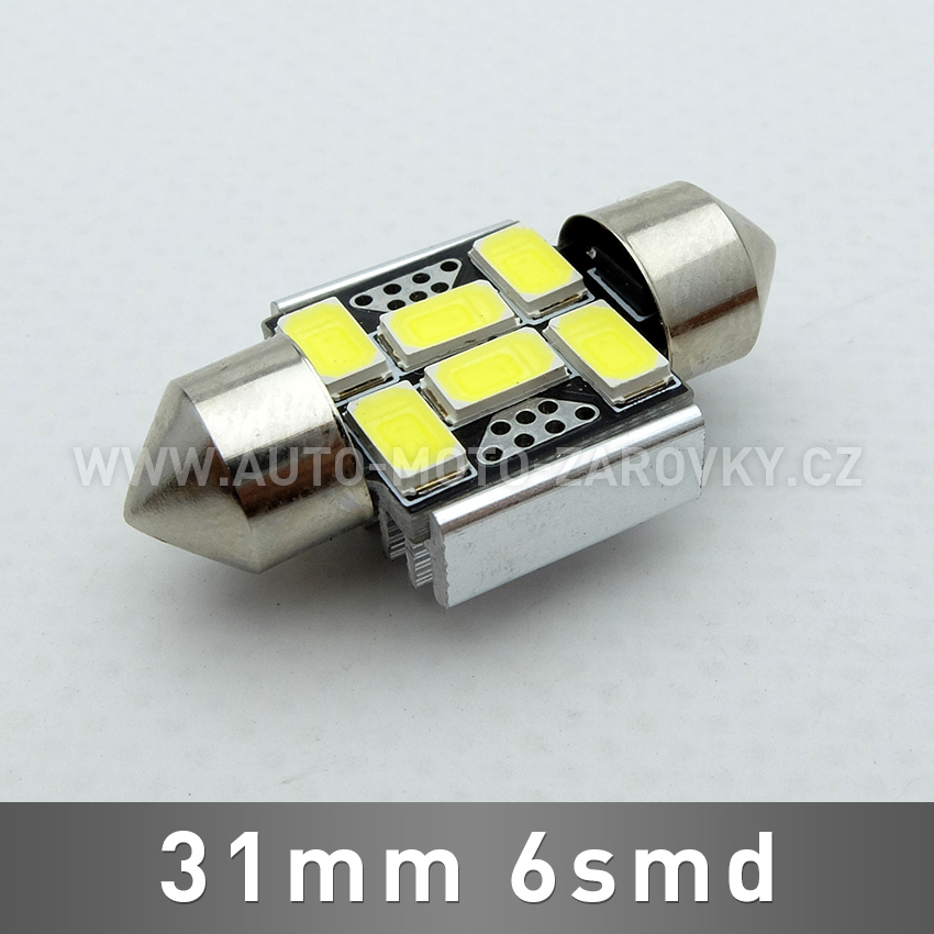 CAN-BUS sufitka bílá - Super Light, 6SMD LED, 31mm, 1ks
