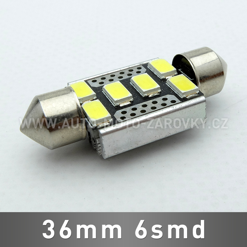 CAN-BUS sufitka bílá - Super Light, 6SMD LED, 36mm, 1ks