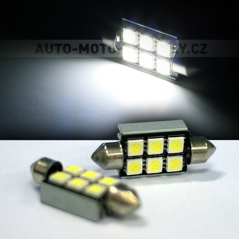 CAN-BUS sufitka bílá - Super Light, 6 SMD LED, 39mm, 1ks