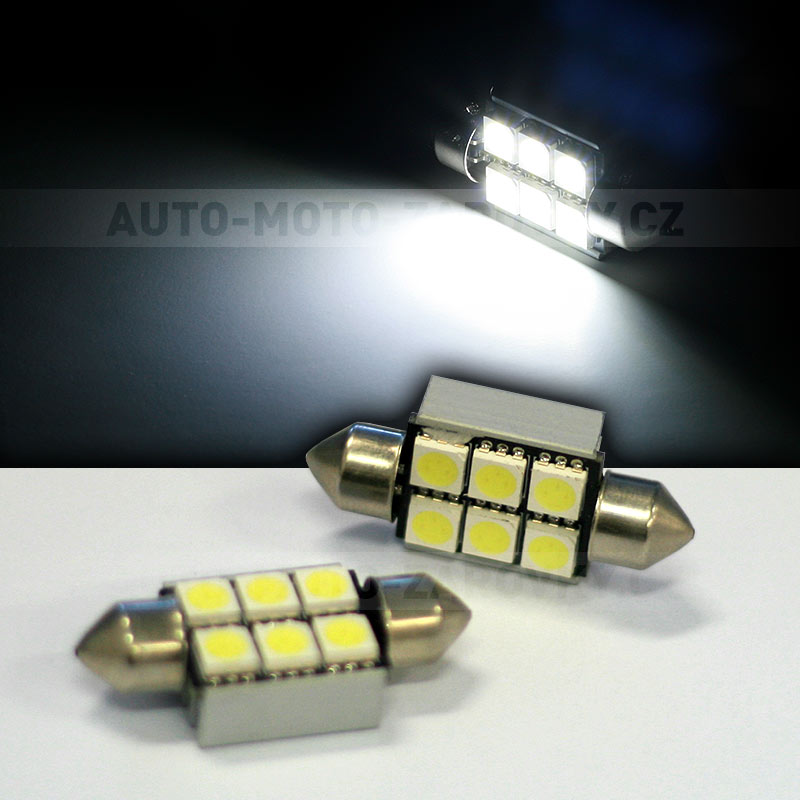 CAN-BUS sufitka bílá - Super Light, 6 SMD LED, 36mm, 1ks