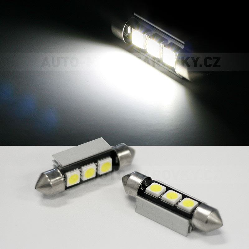CAN-BUS sufitka bílá - Super Light, 3 SMD LED, 39mm, 1ks