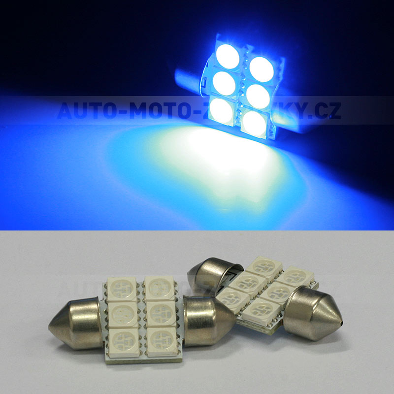 Sufitka modrá - Super Light, 6 SMD LED, 31mm