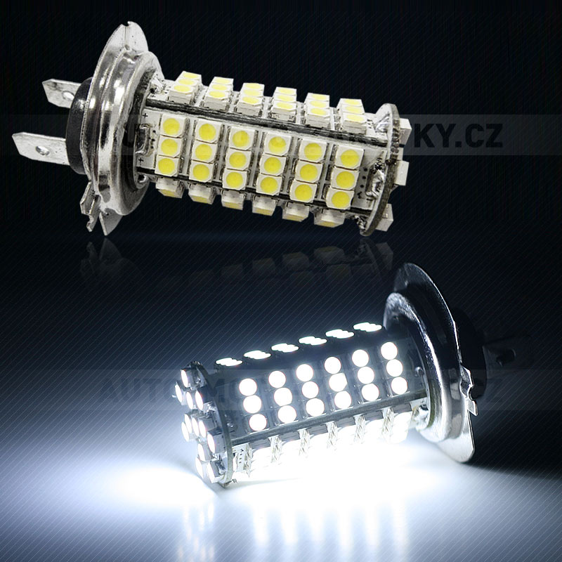 LED žárovka 12V s paticí H7, 102 SMD LED, 1ks