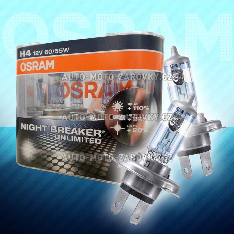 Žárovky do auta H4 OSRAM Night Breaker Unlimited 55W
